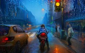Картинка Art, Street, Rain, Bike