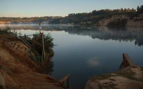 Картинка девушка, туман, обрыв, у реки, Асхат Бардынов, Ксения Чапкаева, ɐнɔɐdʞǝdu qнεиЖ