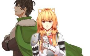 Картинка девушка, белый фон, парень, The Rising of the Shield Hero