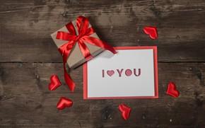 Картинка любовь, подарок, сердце, сердечки, red, love, heart, wood, romantic, valentine's day, I love You