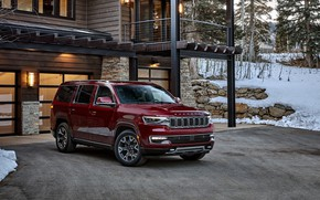 Картинка red, house, wood, snow, jeep, crossover, кроссовер, premium, 2022, wagoneer, series ii