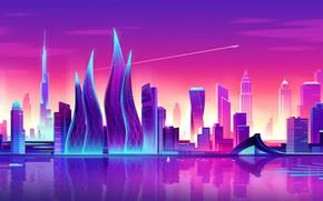 Картинка Закат, Вектор, Город, Стиль, Небоскребы, Дубай, Архитектура, Арт, Башни, Style, Neon, ОАЭ, Небоскреб, Illustration, Бурдж-Халифа, …