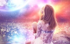Картинка девушка, луна, спина, платье, водоем