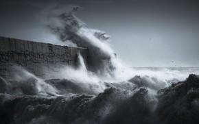 Картинка море, волны, брызги, шторм, стихия, волна