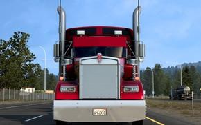Картинка дорога, калифорния, тягач, трак, W900L, Kenworth, Кенворт