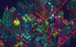 Картинка Город, Стиль, Небоскребы, Фон, City, Fantasy, Архитектура, Небоскрёб, Арт, Графика, Art, Style, Фантастика, Neon, Fiction, …