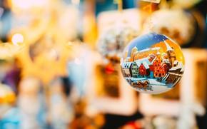 Картинка зима, праздник, игрушки, рисунок, шар, кони, шарик, лошади, Рождество, Новый год, домики, роспись, висит, боке, …