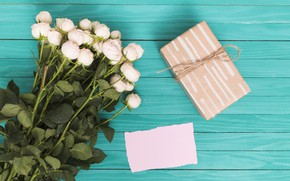 Картинка подарок, розы, букет