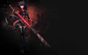 Картинка девушка, оружие, меч, аниме, арт, RWBY