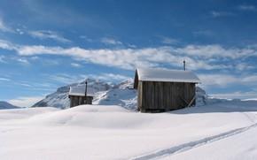 Картинка зима, снег, горы, домики