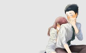 Картинка девушка, романтика, парень, двое, Форма голоса, Koe No Katachi, Форма Голоса