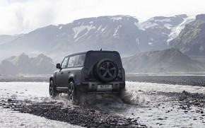 Картинка вода, снег, горы, брызги, туман, джип, Land Rover, бездорожье, Trophy, трофи, Defender, 2022, Land Rover …