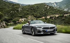 Картинка дорога, асфальт, горы, серый, растительность, BMW, родстер, BMW Z4, M40i, Z4, 2019, G29