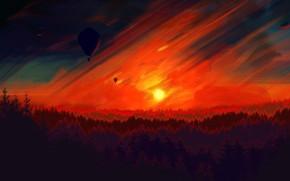 Картинка Закат, Солнце, Небо, Дерево, Деревья, Лес, Sky, Art, Tree, Sun, Sunset, Воздушный шар, Forest, Trees, …