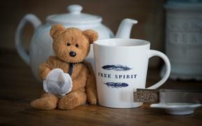 Картинка чай, игрушка, медведь, чашка