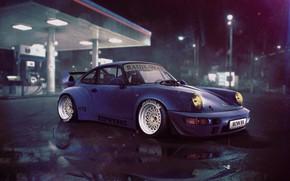 Картинка Авто, Ночь, Синий, Porsche, Машина, NFS, Заправка, Porsche 911, Need For Speed, Transport & Vehicles, …