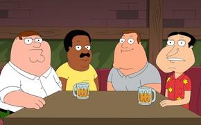 Картинка Стол, Пиво, Бар, Гриффины, Family Guy, Мультфильм, Brown, Кливленд, Peter, Джо, Cleveland, Joe, Glenn, Peter …