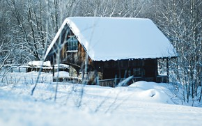 Картинка зима, снег, деревья, пейзаж, зимний, домик, house, landscape, nature, beautiful, winter, snow, cottage