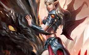 Картинка girl, fantasy, horns, armor, wings, dragon, artwork, fantasy art, Elf, creature, armored, fantasy girl, pointed …