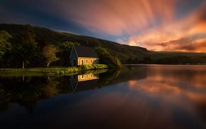Картинка пейзаж, закат, природа, город, озеро, дом, парк, Италия, Корк, Гуган-Барра
