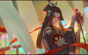 Картинка катана, воин, арт, LY 炼 妖, 鬼 切