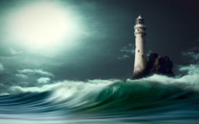 Картинка море, облака, свет, ночь, графика, волна, маяк, digital art, nikos Bantouvakis