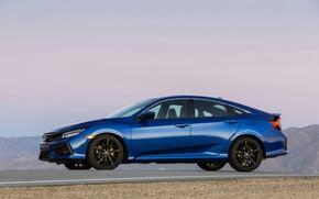 Картинка синий, Honda, седан, вид сбоку, Civic, 2020, 2019, Si Sedan