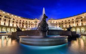 Картинка Рим, Италия, Фонтан Наяд, Площадь Республики