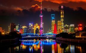 Картинка мост, река, China, здания, Китай, Shanghai, Шанхай, ночной город, небоскрёбы, телебашня, Pudong, Huangpu River, Пудун, …