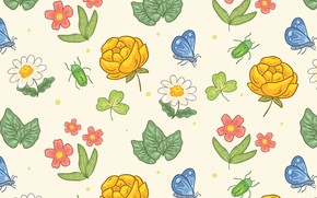 Картинка бабочки, цветы, фон, текстура, бутоны, винтаж