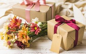 Картинка цветы, подарок, букет, colorful, хризантемы, flowers, gift box