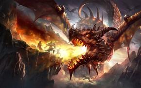 Картинка fire, fantasy, Dragon, horns, armor, wings, mountains, rocks, battle, weapons, digital art, artwork, warriors, shield, …