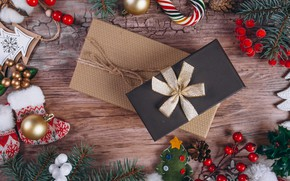 Картинка праздник, игрушки, новый год, подарки, декор, композиция