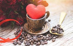 Картинка стол, сердце, розы, зерна, букет, лента, чашка, красные, кофейные