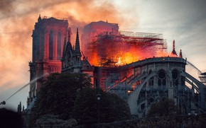 Картинка fire, Paris, France, Notre Dame Cathedral