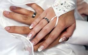Картинка кольца, руки, обручальные кольца, молодожёны
