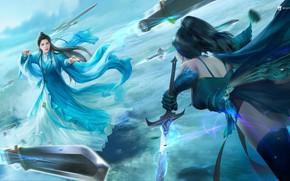Картинка магия, бой, фэнтези, арт, мечи, скил, 叁乔居 3QSTUDIO, 《择天记》长生VS男客