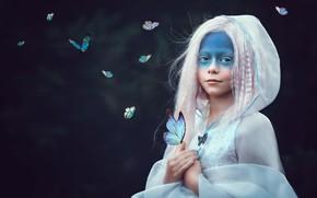 Картинка бабочки, стиль, девочка