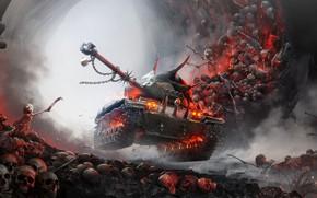 Картинка Черепа, Хеллоуин, Танк, Скелеты, World of Tanks, Преисподняя