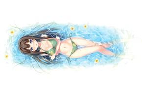 Картинка бикини, цветочки, длинные волосы, смотрит вверх, Your Diary, visual novel, лежит в воде, sayuki ayase, …