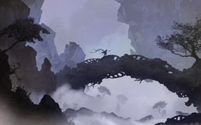 Картинка Горы, Мост, Рисунок, Силуэт, Воин, Пейзаж, Арт, Landscapes, Digital Art, TacoSauceNinja, by TacoSauceNinja, I used …