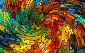 Картинка мозаика, круговорот, элементы, разноцветные