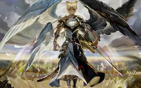 Картинка фентези, парень, архангел