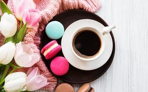 Картинка colorful, тюльпаны, pink, tulips, coffee cup, macaroons, macaron, чашка кофе, макаруны