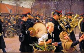 Картинка Дети, Картина, Солдаты, Парад, Erik Ludvig Henningsen, Эрик Людвиг Хеннингсен, Гвардейский парад, Датский живописец