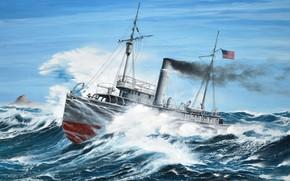 Картинка ВМС США. В 1917 году он был ликвидирован в Тихом о, AT-54, USS Conestoga, океанский …