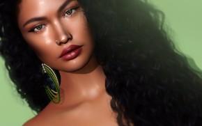 Картинка взгляд, девушка, лицо, рендеринг, волосы