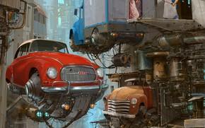 Картинка Дома, Авто, Рисунок, Город, Машина, Здания, City, World, Fantasy, Sky, Архитектура, Автомобиль, Арт, Art, Auto, …