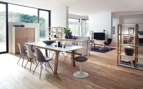 Картинка интерьер, гостиная, столовая