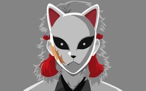 Картинка фон, маска, парень, Клинок Рассекающий Демонов